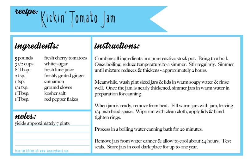 kickin' tomato jam recipe